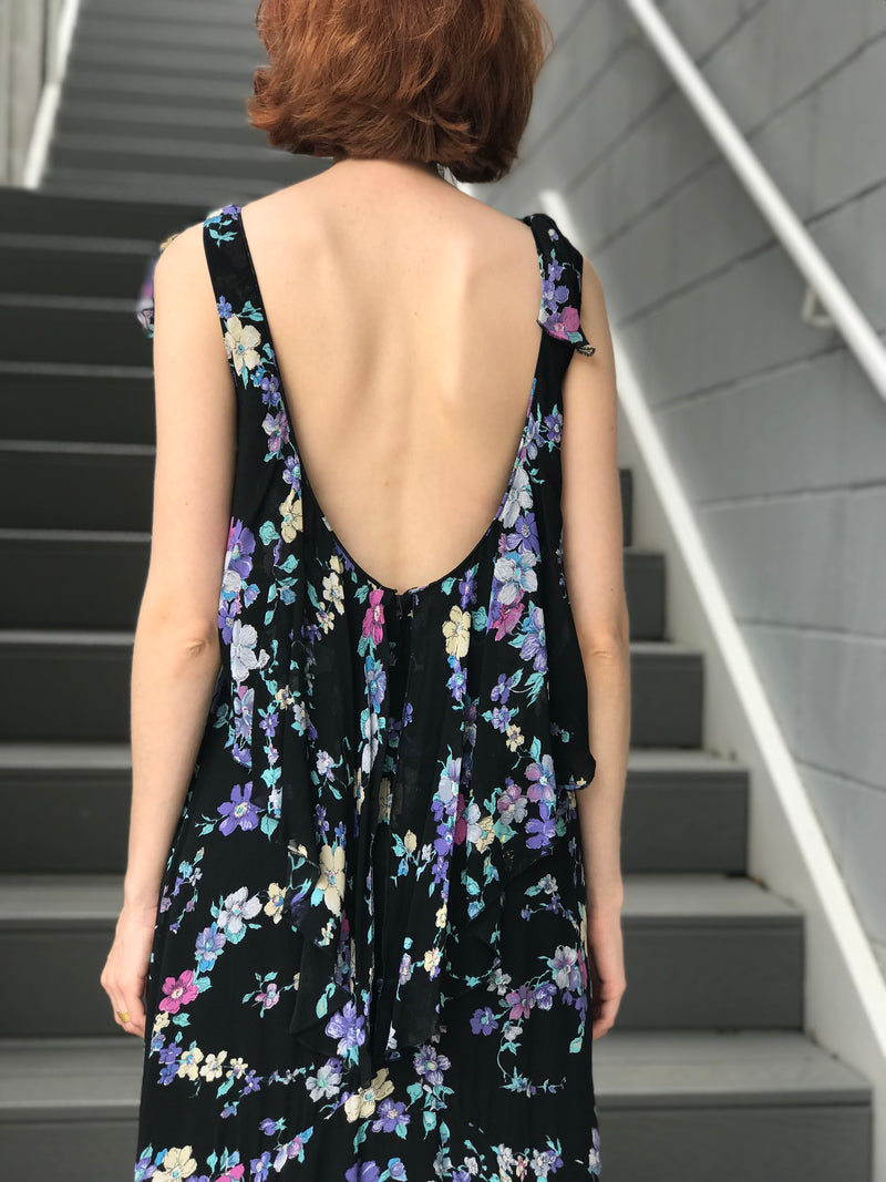 1970s Low Back Violet Floral Crepe Dress