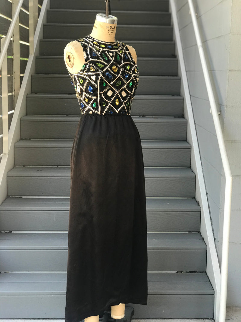 Black Jeweled Maxi Dress