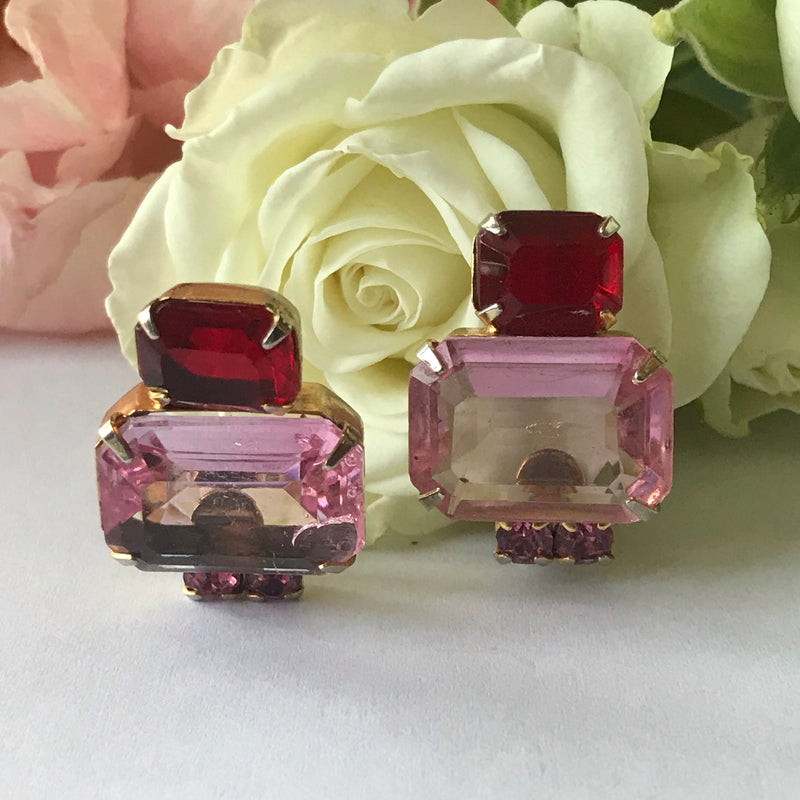 1950s Pink and Red Earrings + Brooch Set
