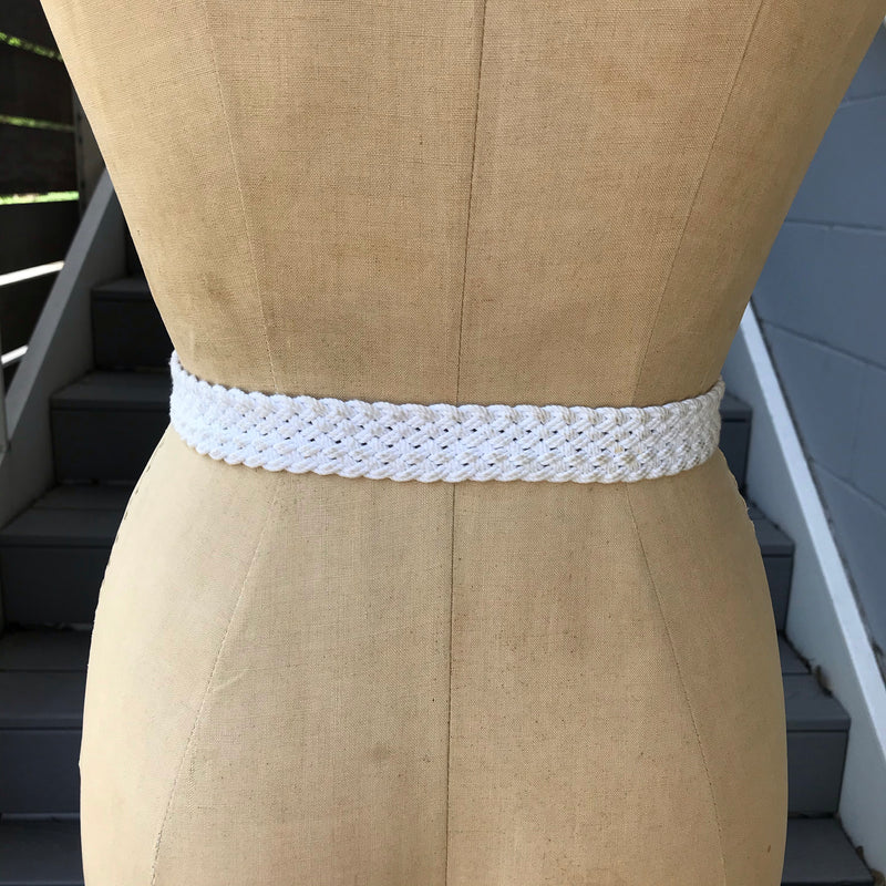 White Woven and Brown Leather Belt