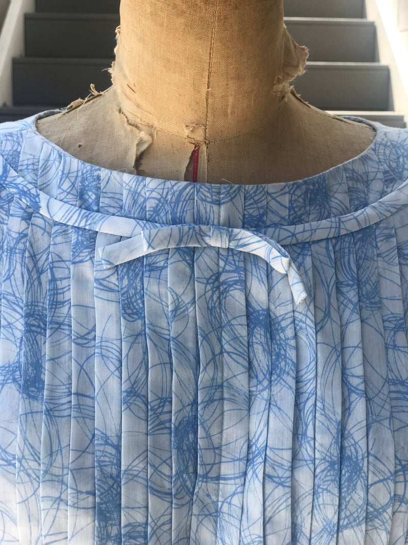 1950s Chantilly Blue Contour Line Pleated Dress