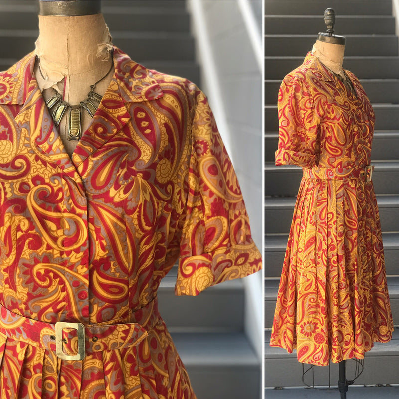 1960s Golden Hour + Red Paisley Shirtwaist Dress