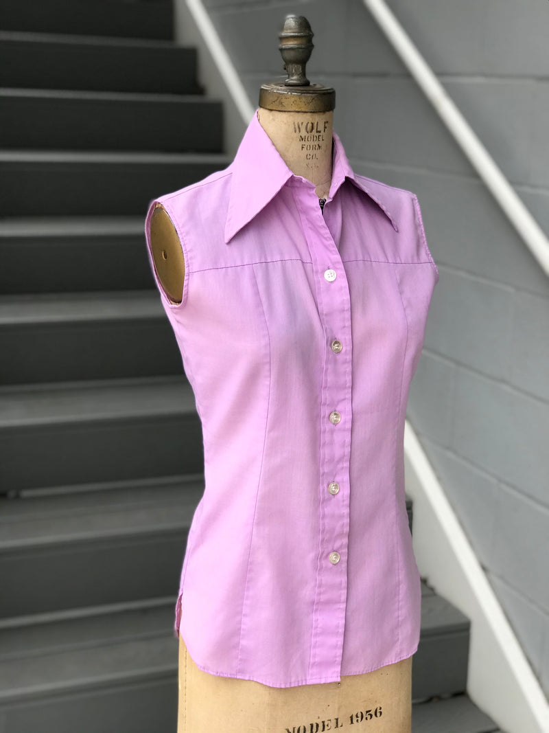 "RESERVED: 1970s ""Wrangler"" Lilac Cotton Button Blouse"