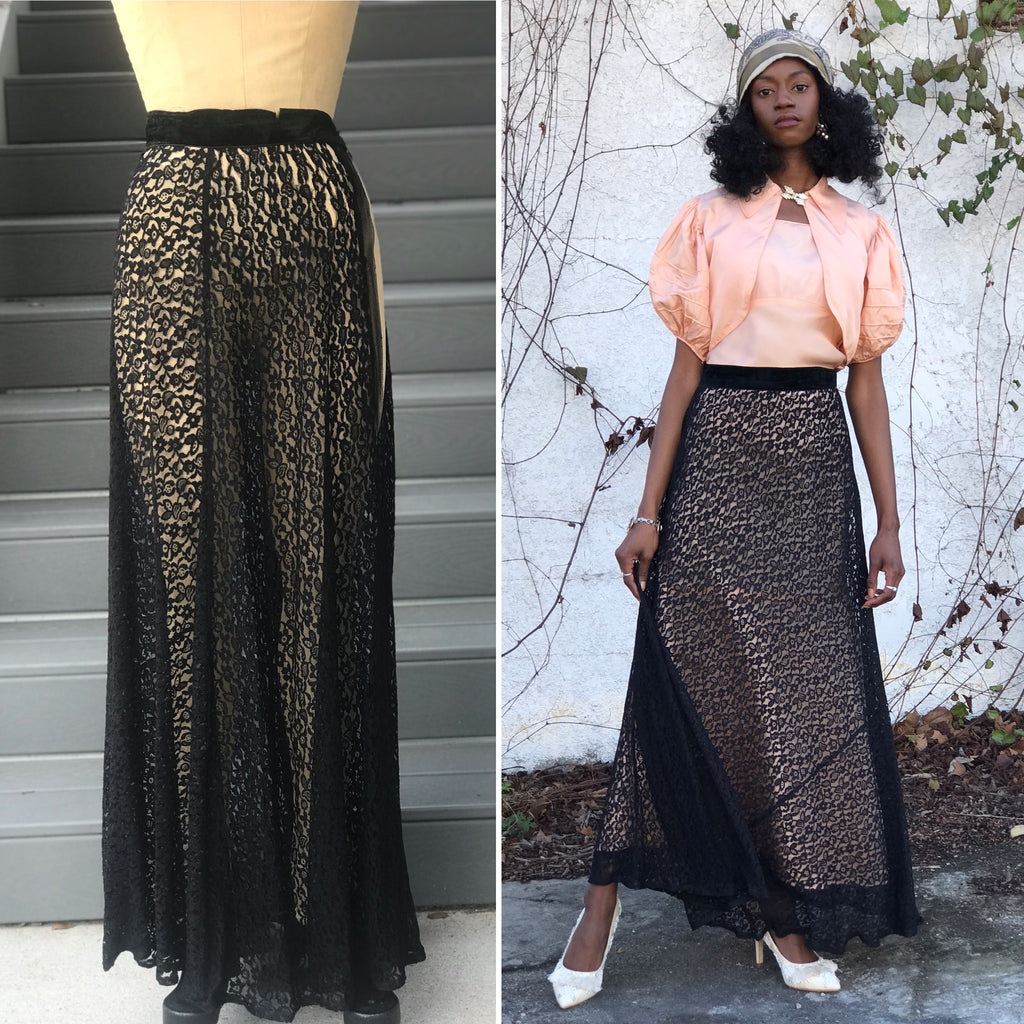 1930s Black French Lace Bias Cut Maxi Skirt