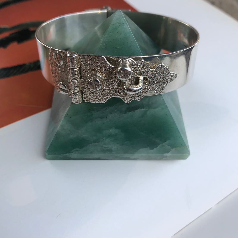 Sterling Silver Puzzle Lock Cuff Bracelet