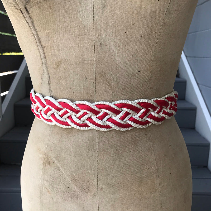 1980s Red, White, and Silver Braided Belt