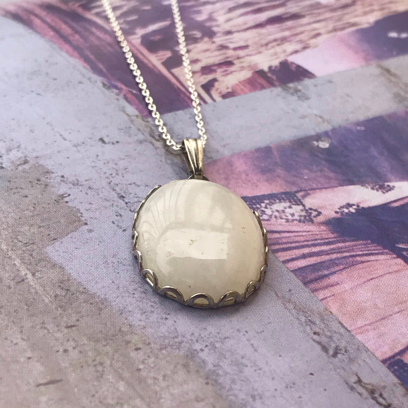 Silver and White Layering Necklace