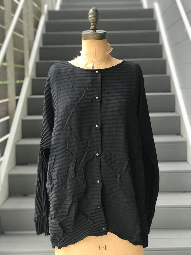 Y2K Pleated Circle Scrunch Blouse