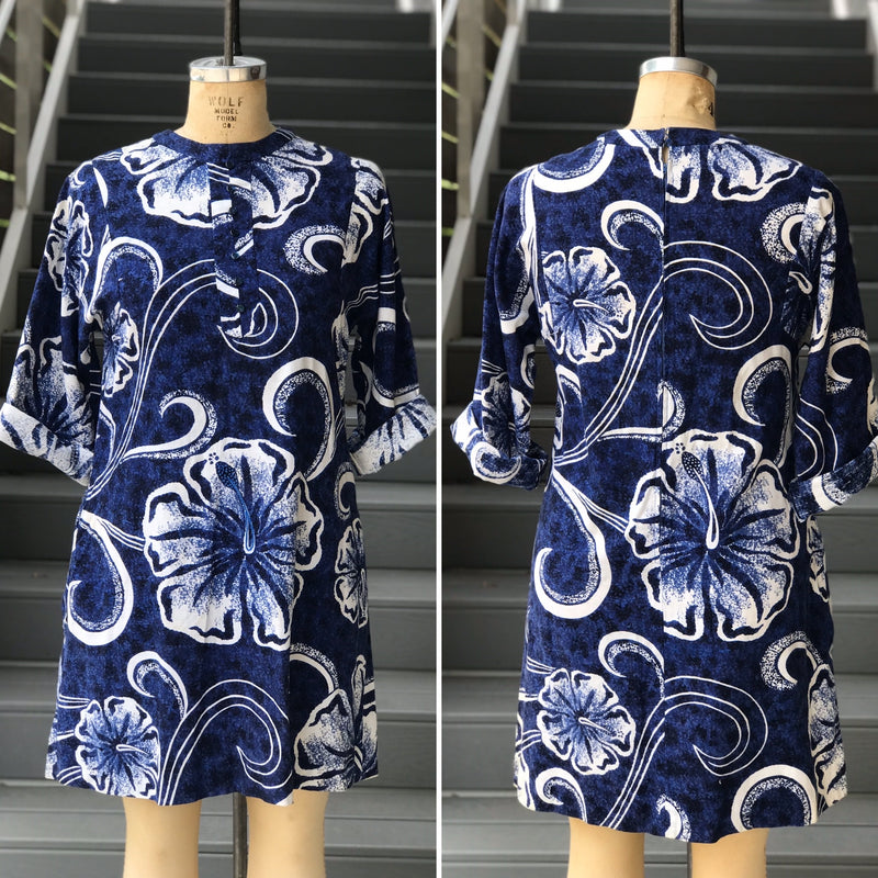 1960s Volup Blue and White Floral Hawaiian Barkcloth Dress