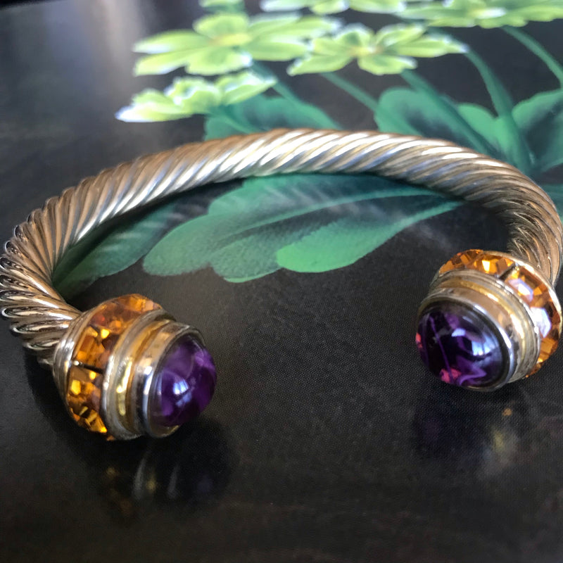Modern  Silver Bracelet with Purple and Amber Rhinestone Accents