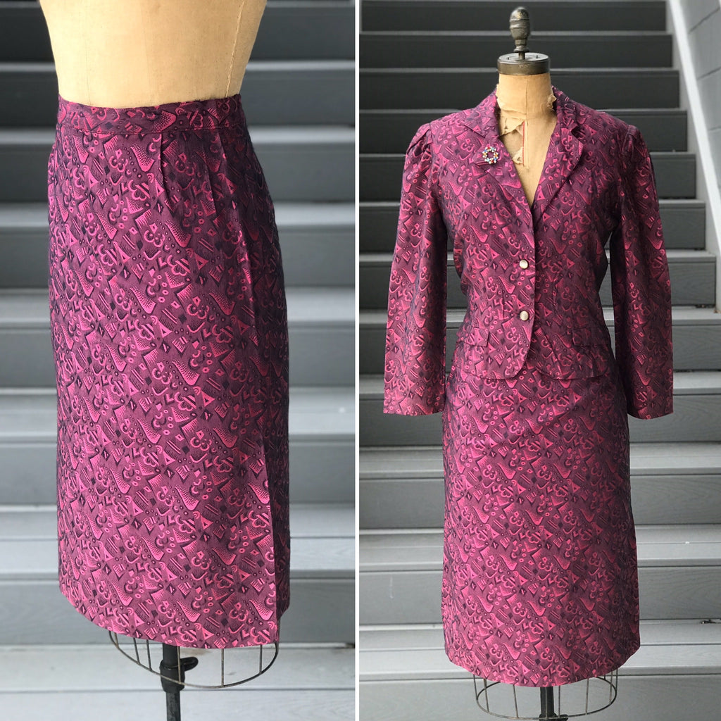 1980s Boysenberry Jacket + Pencil Skirt *SET*