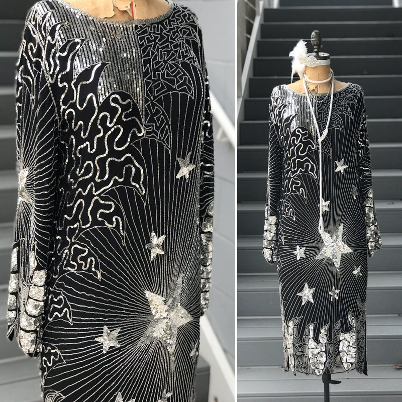 1980s Astro Art Deco Sequin Dress