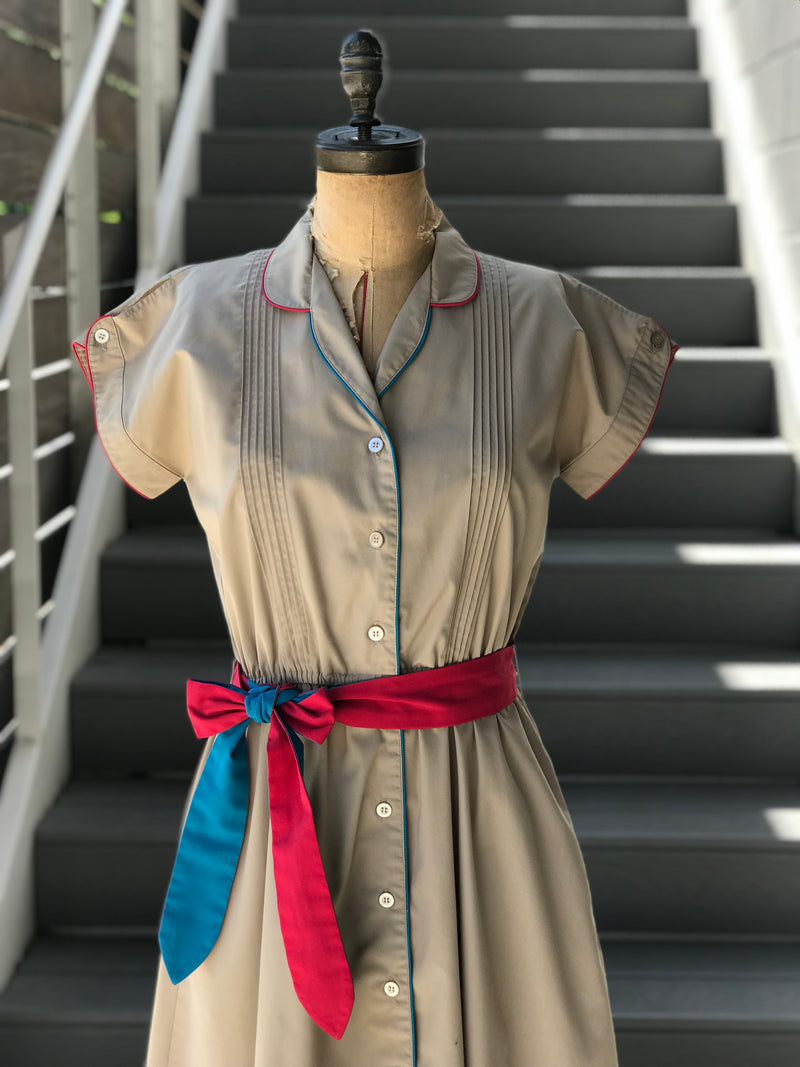 1970s Clay + Colorblock Shirtdress