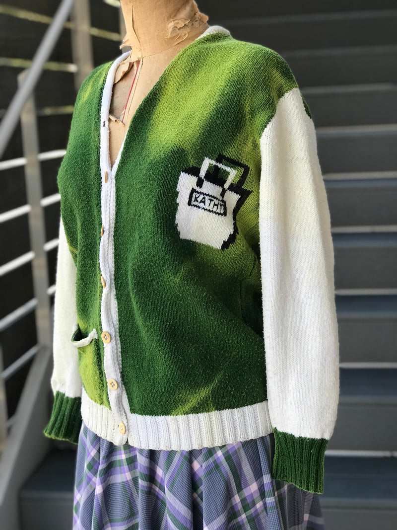 "1960s ""Team Kathy"" Novelty Bowling Sweater"