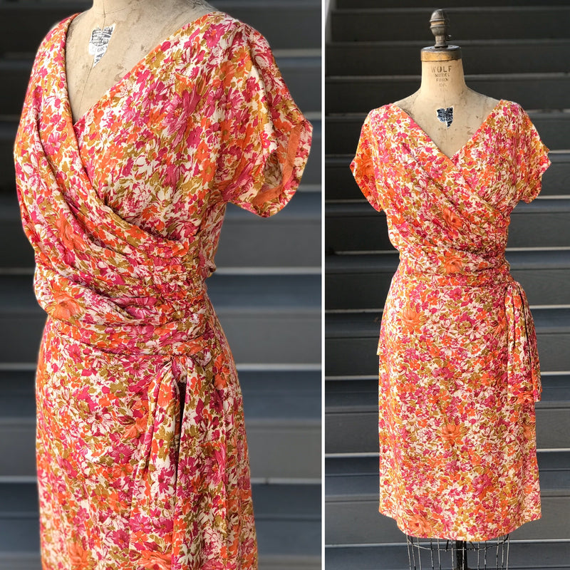 1950s Potpourri Floral Sheath Dress