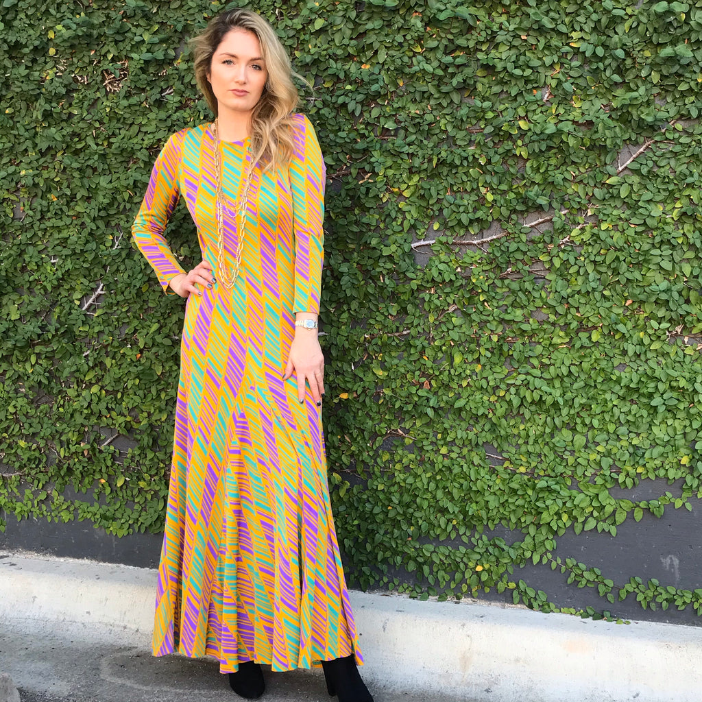 Reserved. 1970s DVF Yellow and Green Maxi Gown
