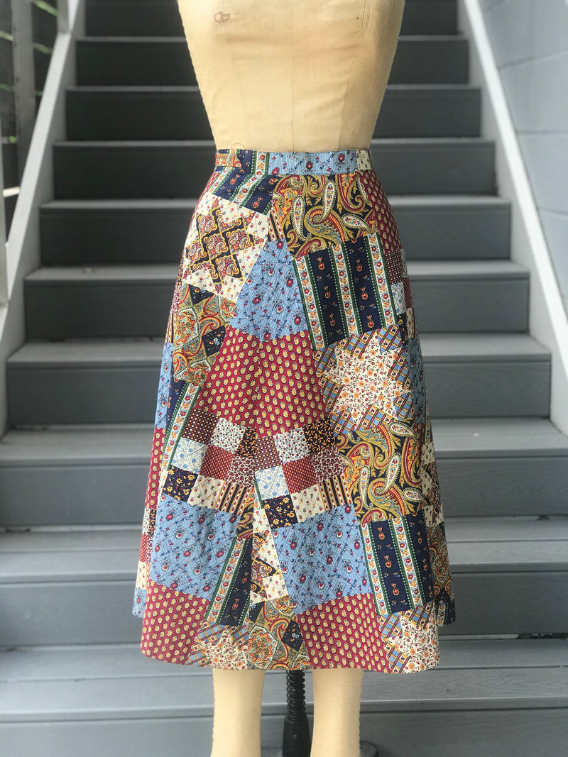 Reserved. 1970s 2-Piece Patchwork Wrap Skirt and Top