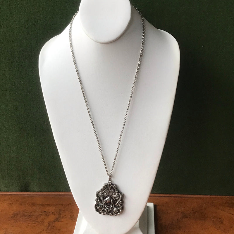 Silver Pendant with Hamsa and Camel