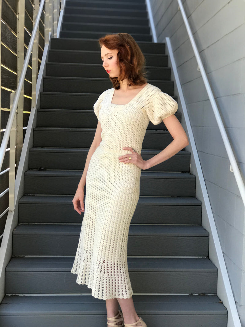1930s Hand Knit Crochet Puff Sleeve Dress
