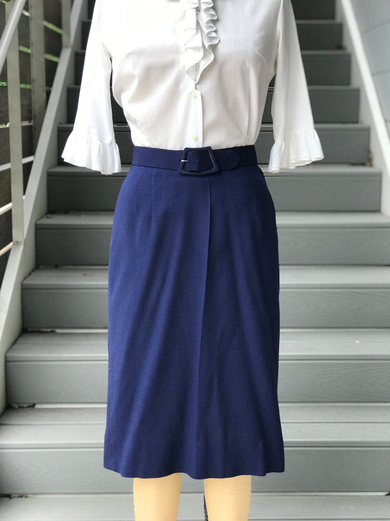 1960s Kay Windsor Blue Linen Skirt Suit