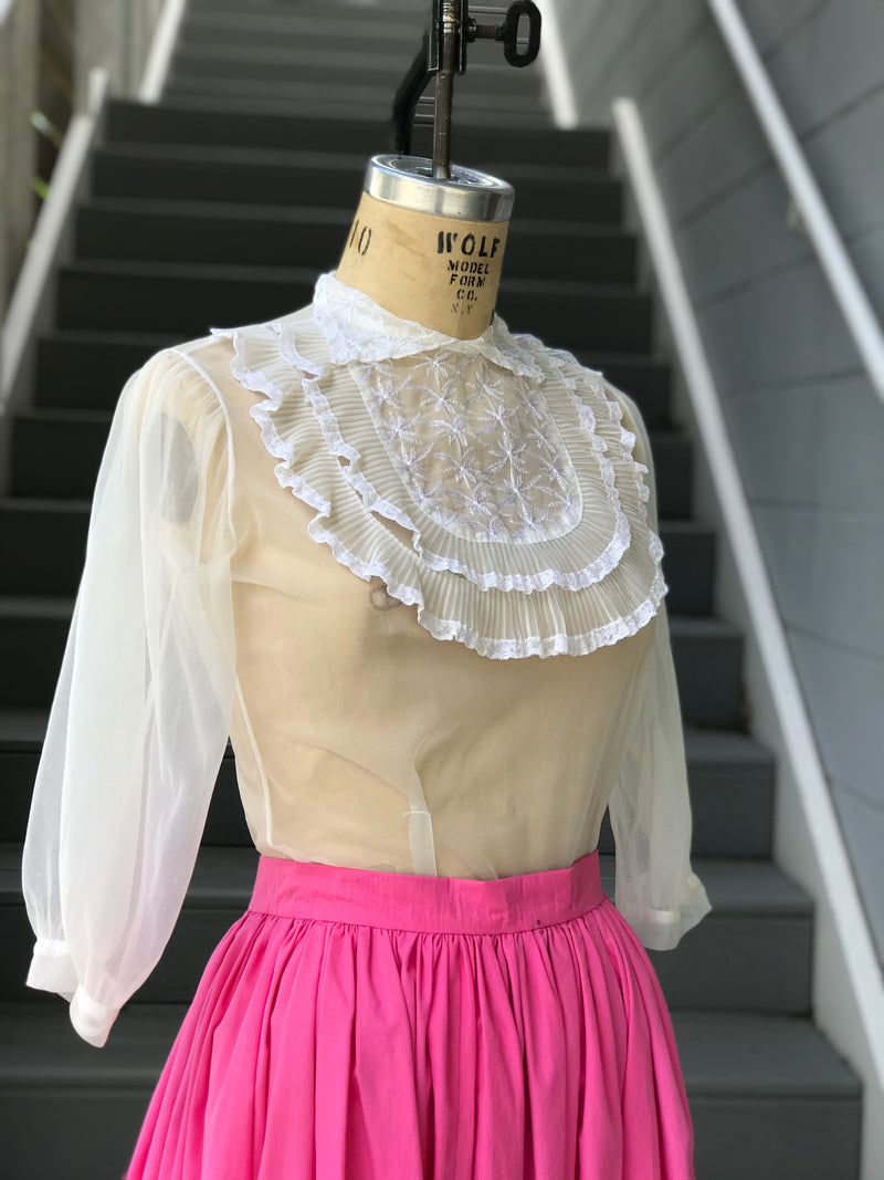 1960s Sheer Pleated Bib Blouse