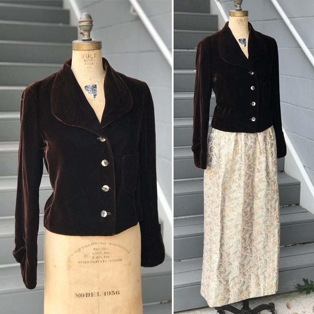 1950s Velvet Chestnut Collared Jacket