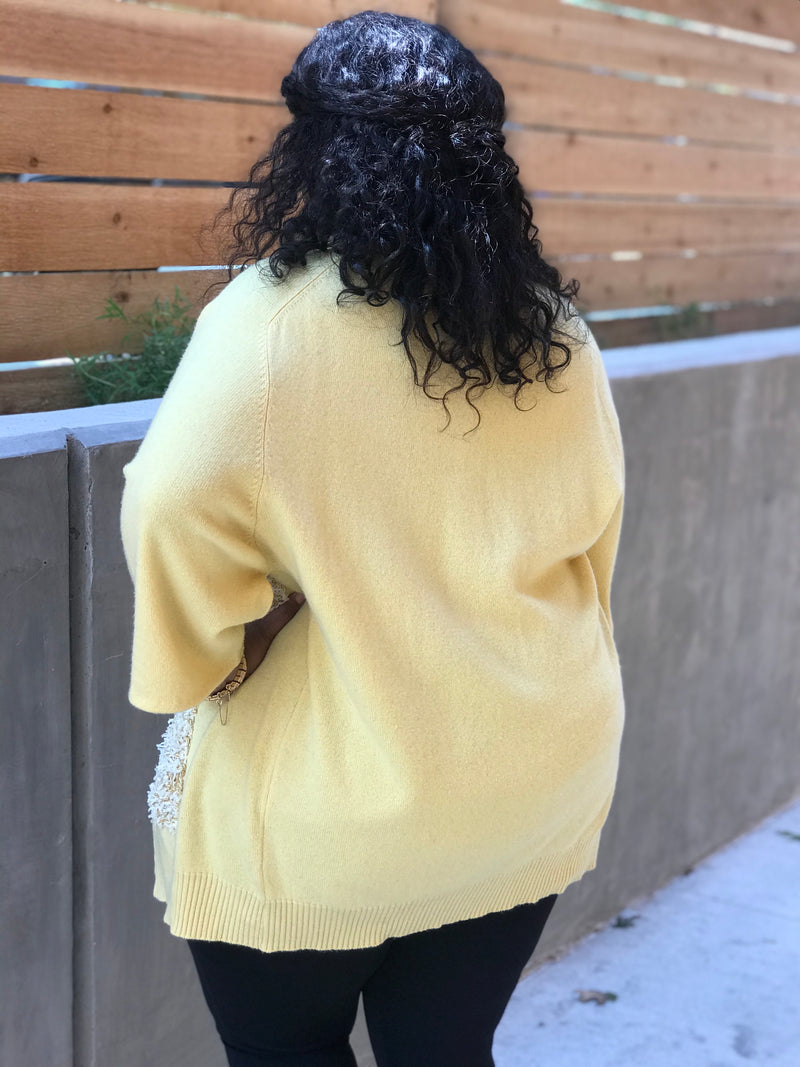 1980s Frilly Banana Pudding Cardigan