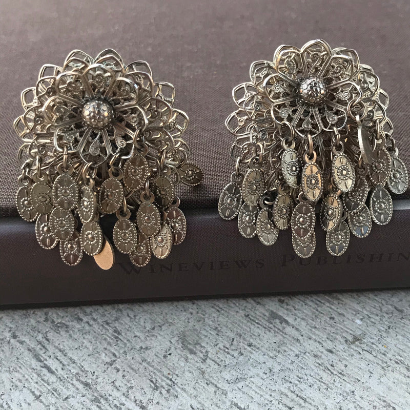 1950s Silver Filigree Flower Articulated Earrings