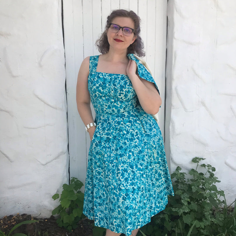 1950s Green Medallion Print Fit and Flare Dress