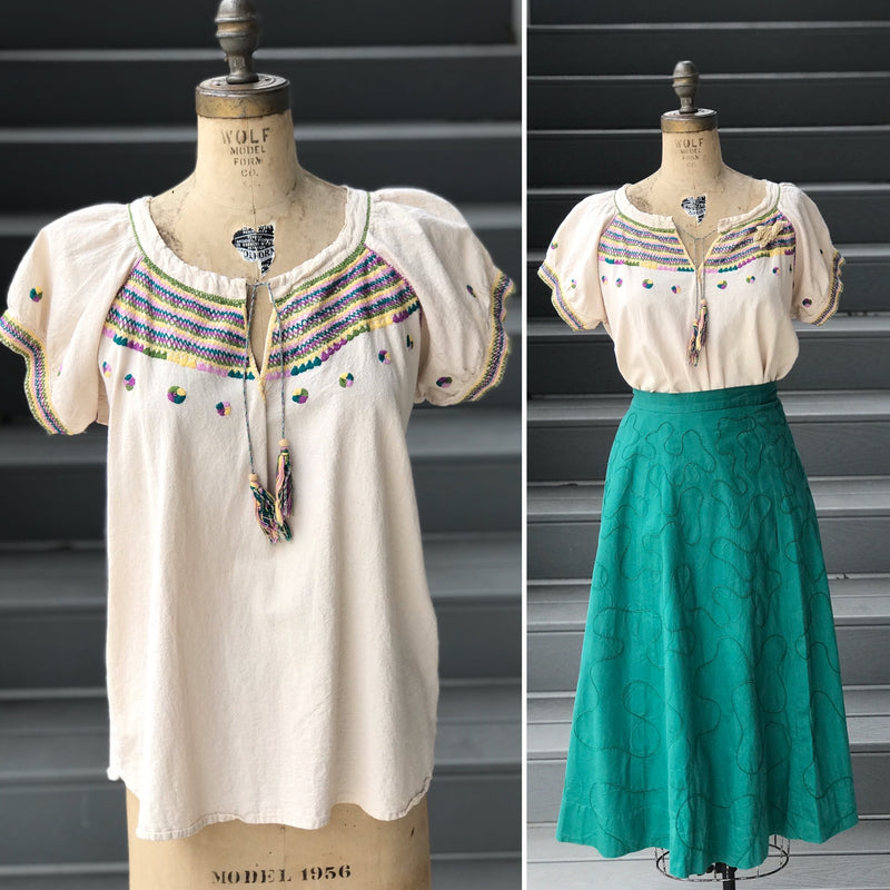 *Timeless* Bark Cloth Embroidered Tassel Blouse