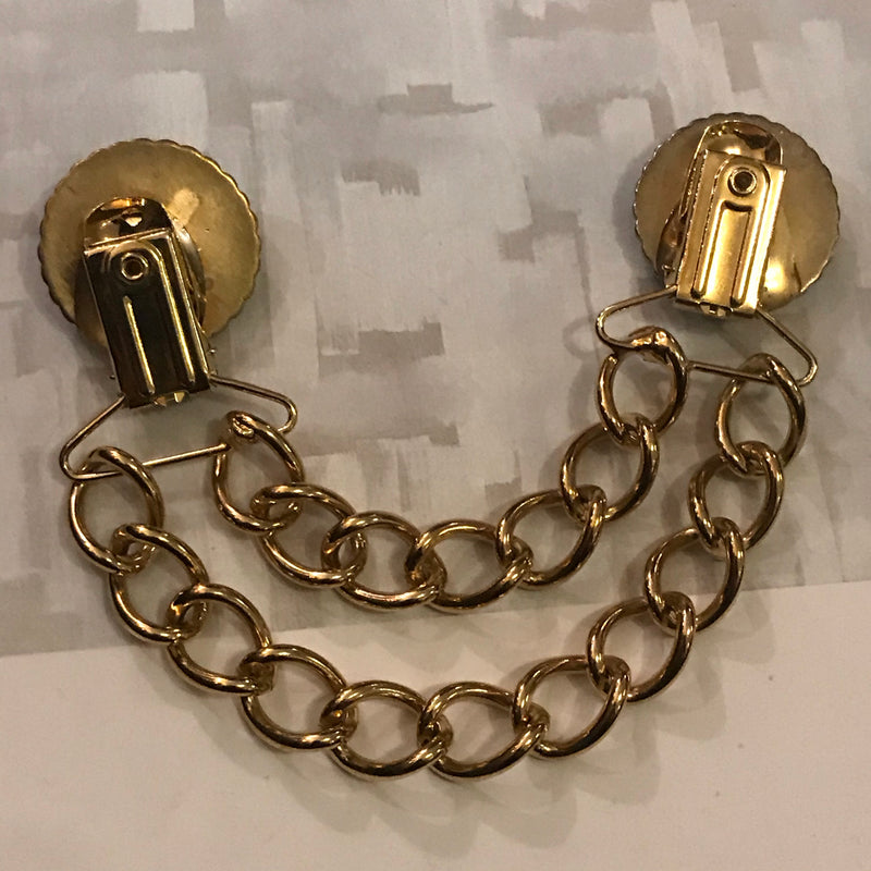 MidCentury Gold Double Chain Sweater Clip