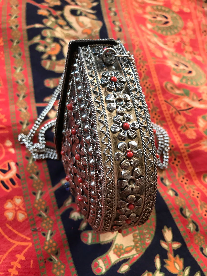 *RESERVED* 1970s Metal Beaded Box Purse
