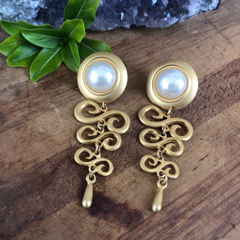 Gold and Pearl Dangle Statement Earrings