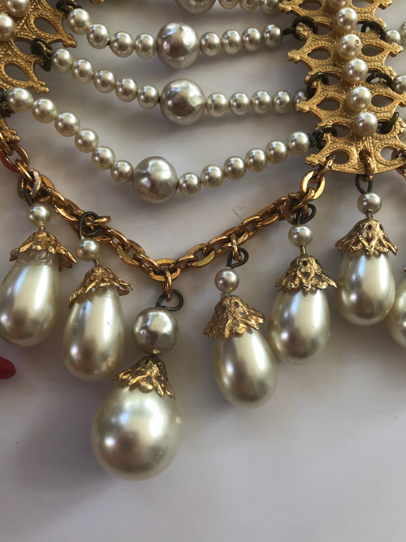 Vintage Egyptian Revival Pearl Collar Necklace