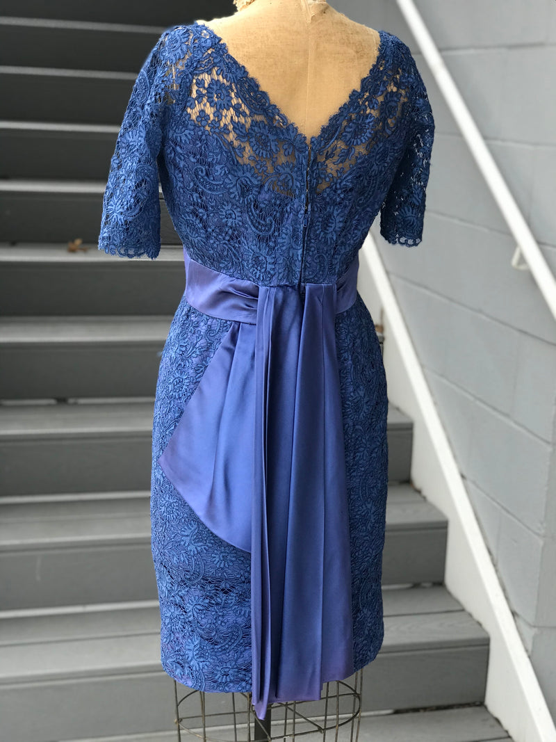 1960s Sapphire Alençon Lace Cocktail Dress