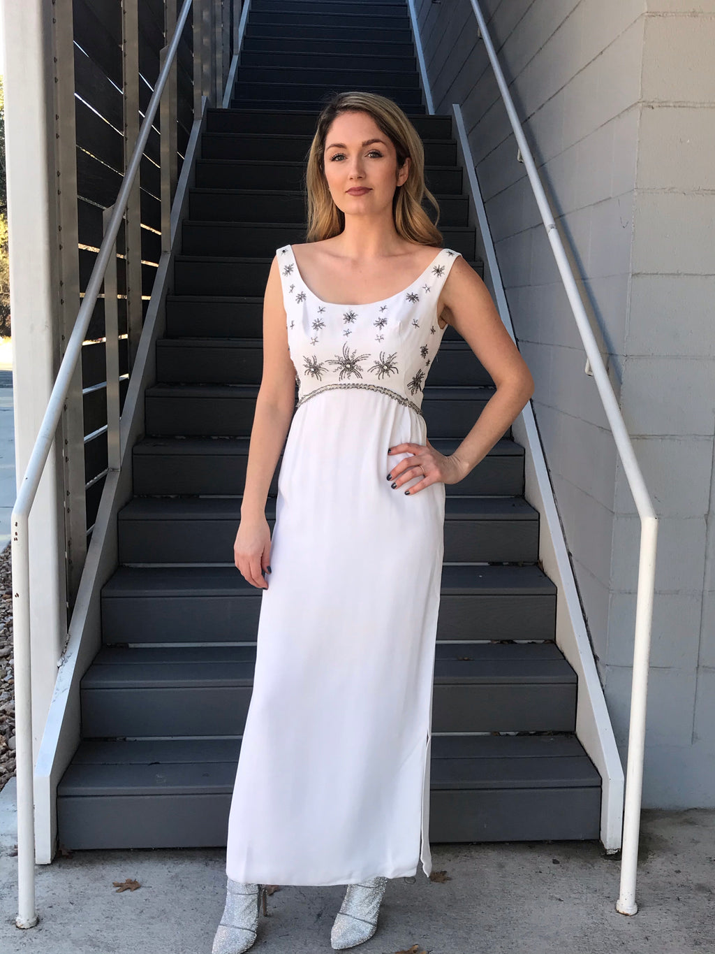 1960s White Crepe Silver Beaded Gown