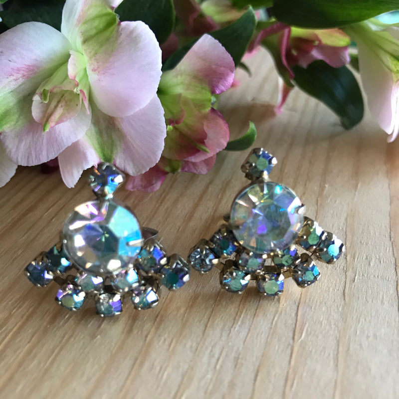 1960s AB Rhinestone Clip On Earrings