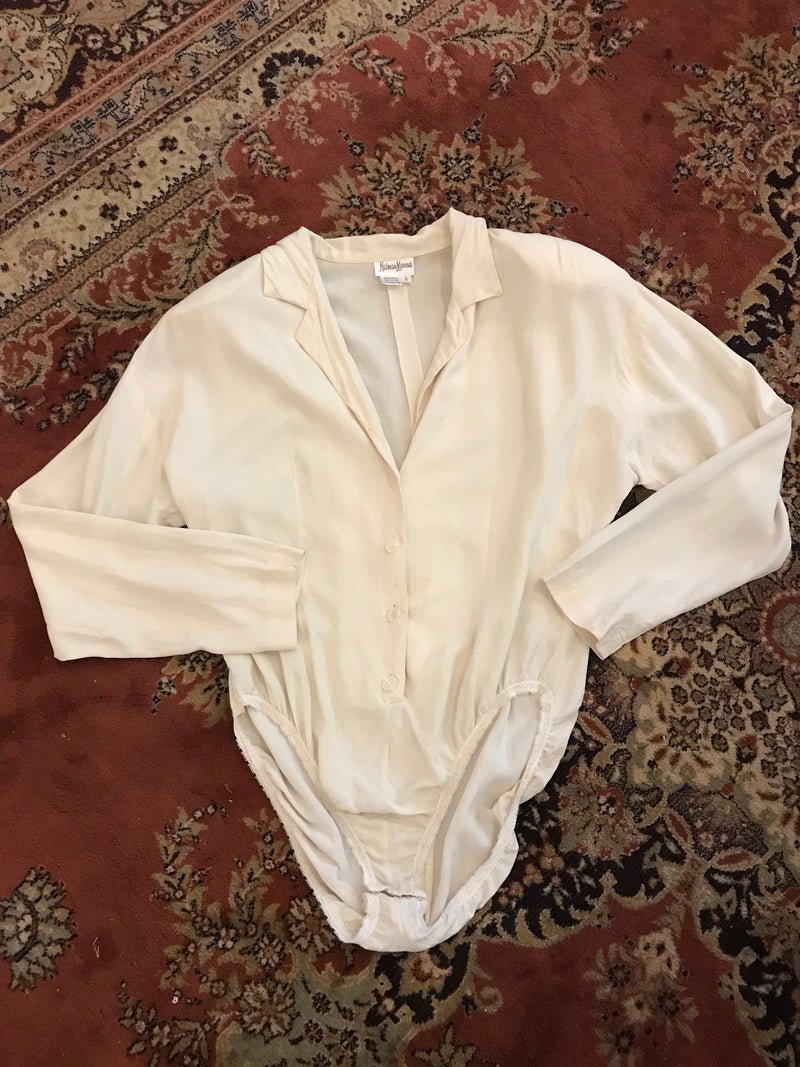 1980s Cream Silk Body Suit Blouse from Neiman Marcus