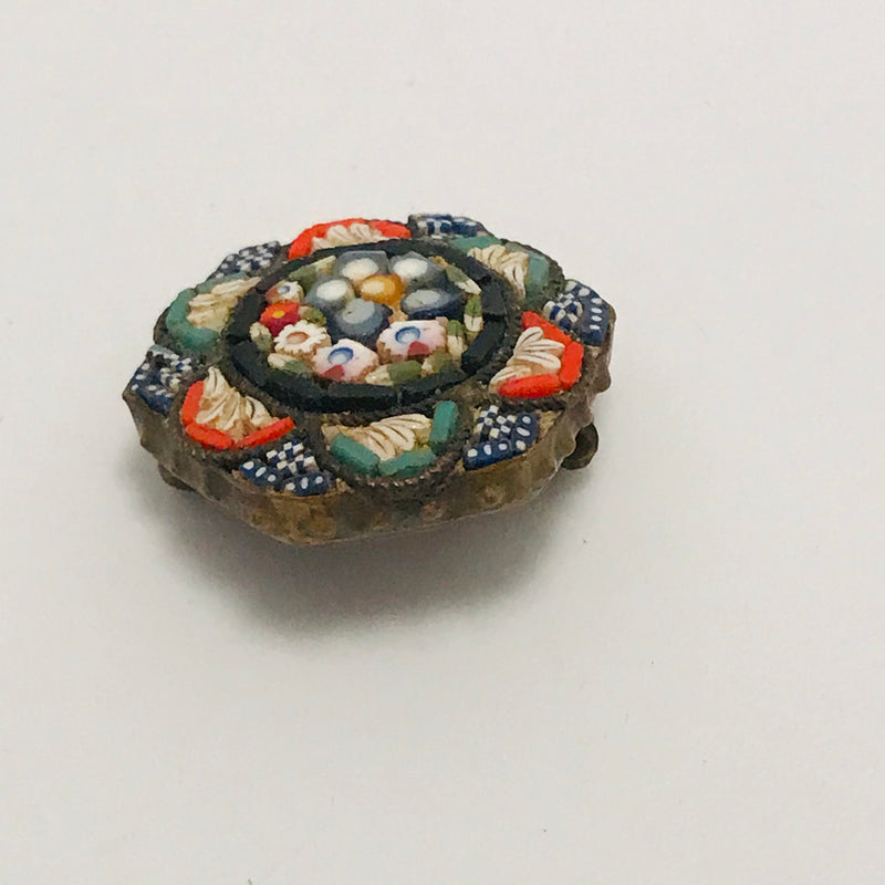 Antique Italian Micro Mosaic Hexagon Brooch