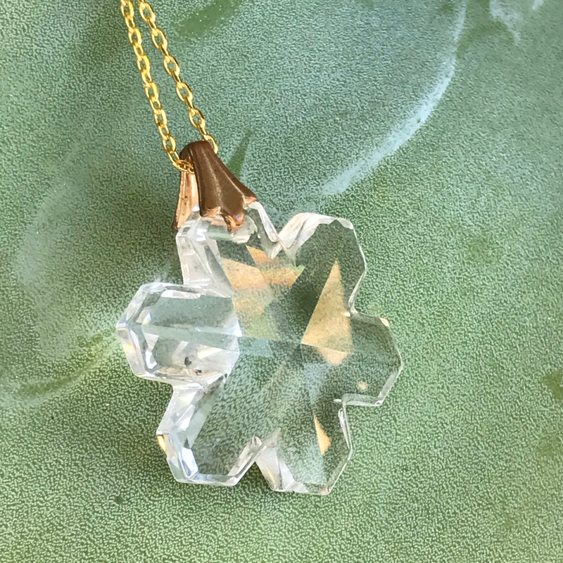 Faceted Glass Crystal Flower Pendant