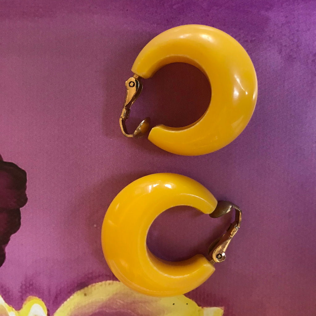 Yellow Clip Hoop Earrings
