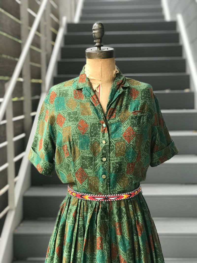 1950s Jasper + Patina Motif Stamped Day Dress