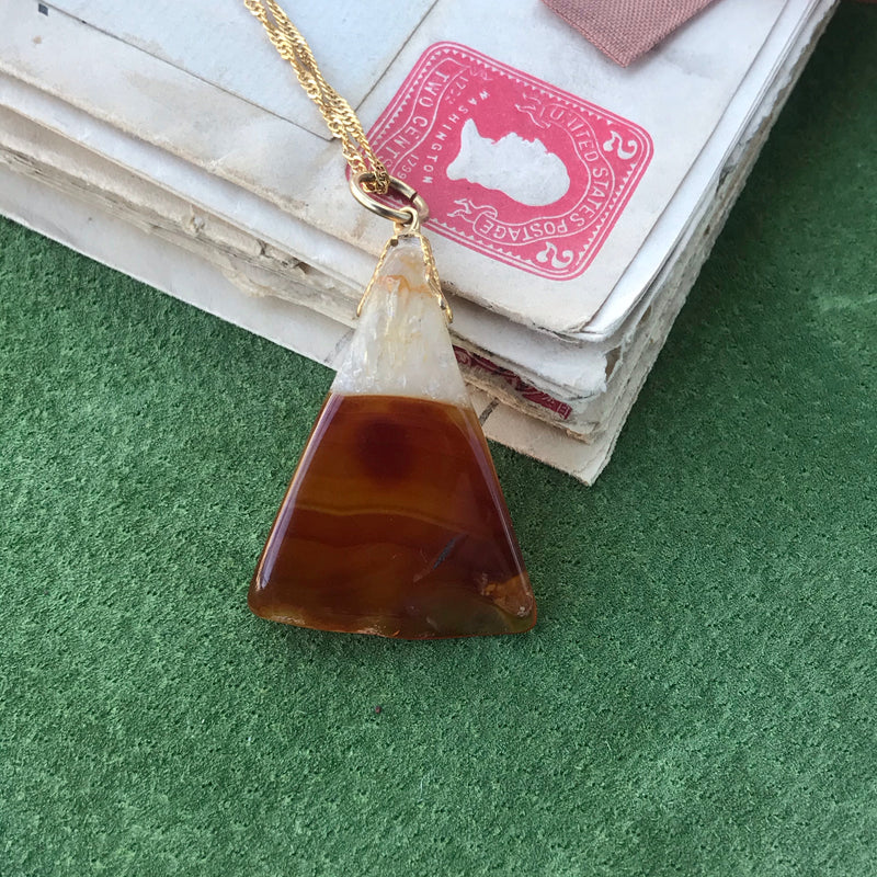 Carnelian Agate Triangle Necklace