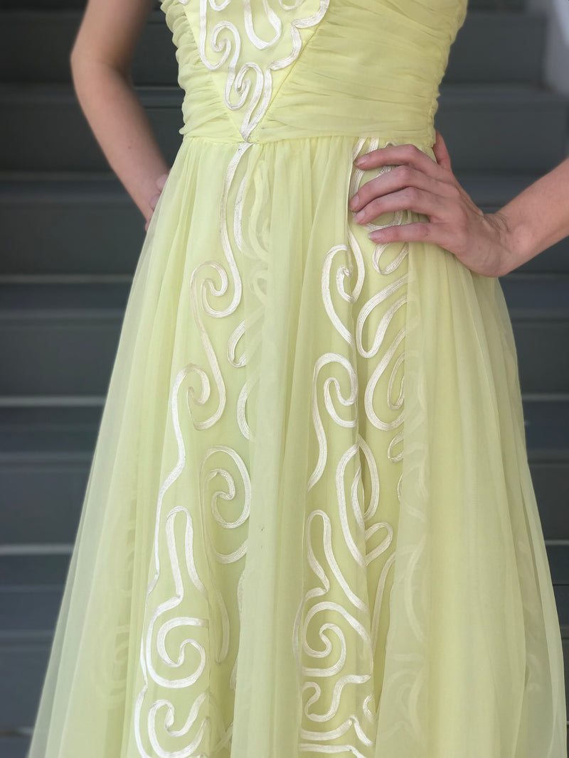 1960s Honeydew Flocked Formal Gown