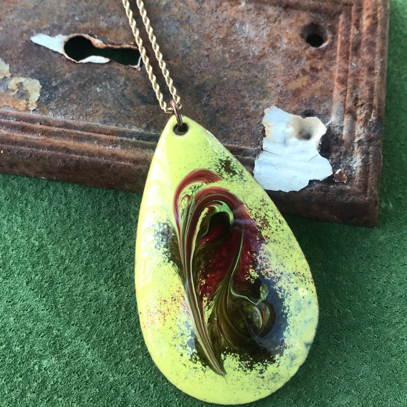 Yellow and Red Painted Copper Teardrop Pendant Necklace