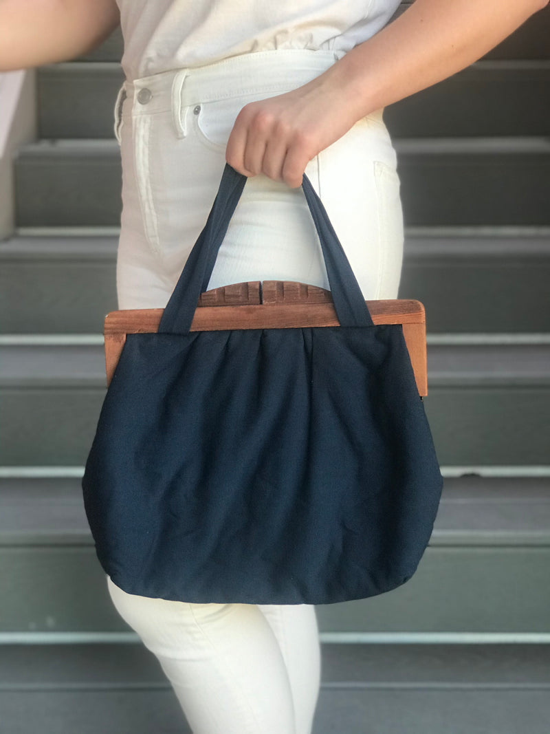 Navy Cloth Purse with Wood Handles