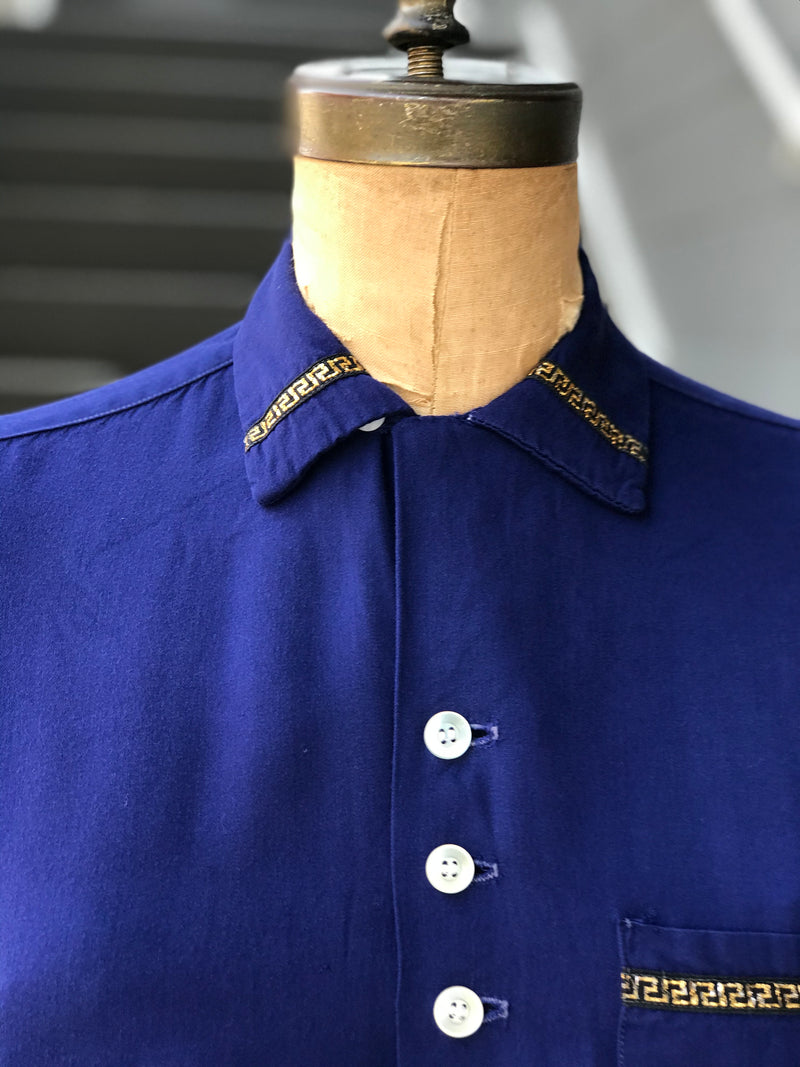 1960s Blue Greek Key Detailed Blouse