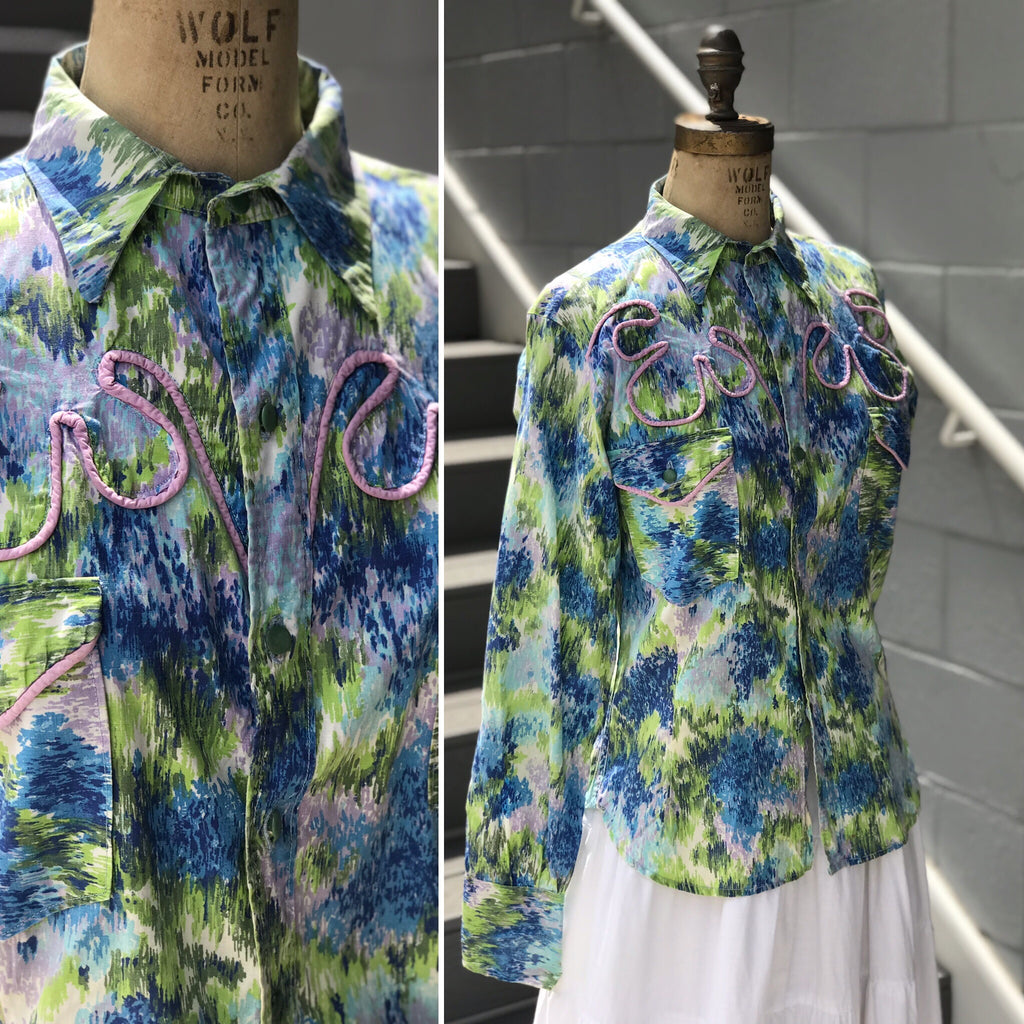 1970s Western Watercolor + Lilac Button Down