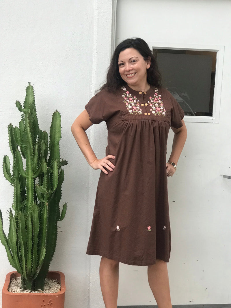 1970s Brown Embroidered Dress