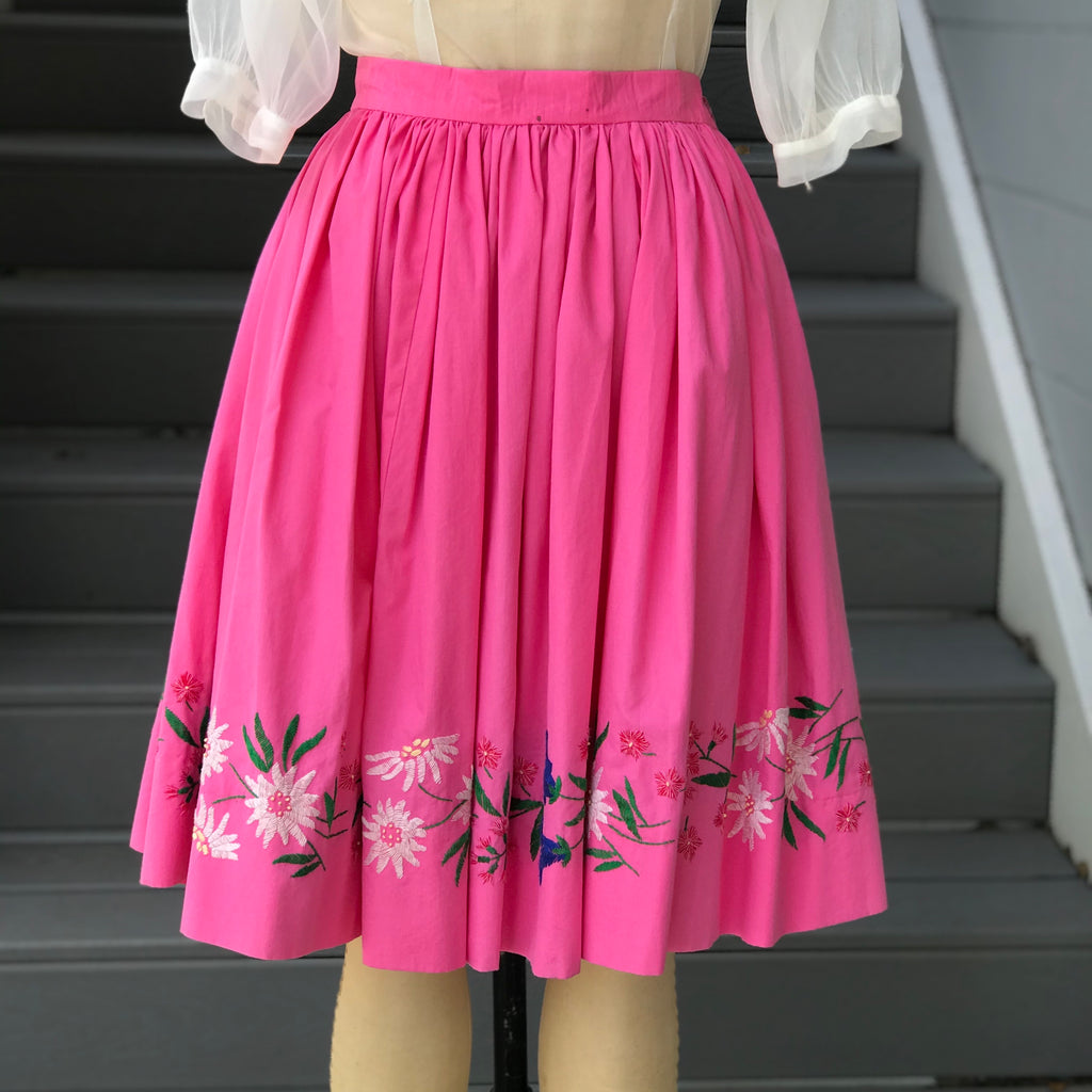 1950s Pink Embroidered Skirt
